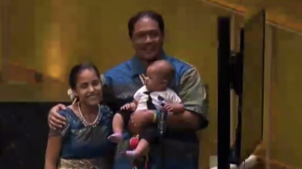 Kathy Jetnil-Kijiner at UN Climate Summit with her husband and daughter