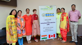 Students from SD College in Chandigarh with UFV representative