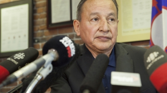 Grand Chief Stewart Phillip at press conference in July - Mychaylo Prystupa