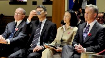 Bob Kasting, Mayor Gregor Robertson, Meena Wong, Kirk LaPointe