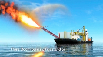 Shell's Arctic Challenger spraying spilled oil and gas - Superior Energy