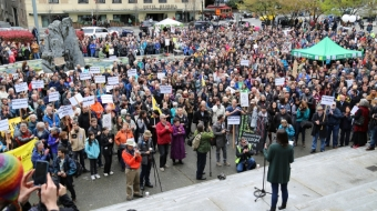 Bill C-51 protest in front of VAG. File photo by David Geselbracht