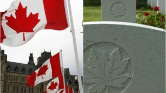 Left:  Parliament. Right: maple leaf engraved on coffins at Beny-sur-mer, France