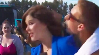Megan Batchelor, CBC reporter and unwanted kiss. (Video still)