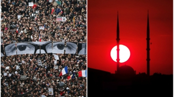 Charlie Hebdo protest, left, Istanbul mosque, right