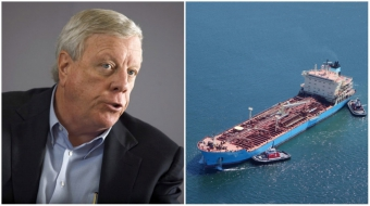 Richard Kinder, left: Tanker in Burrard Inlet, right