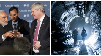 Left: Harper and Modi photo: Jeremy McKay Right: Cameco operation Photo CP
