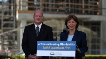 B.C. Premier Christy Clark with Finance Minister Michael de Jong