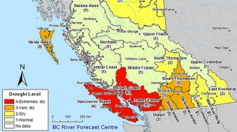 B.C. Government image shows south coast as extremely dry.