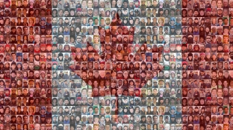 Mosaic of Canadian faces make up Canadian flag