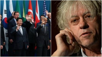 Left, G20 leaders in Brisbane, Australia. Right: Bob Geldof