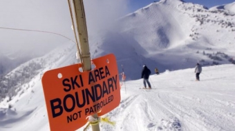 Markers on the ski run at Kicking Horse Mountain resort in Golden (2009)