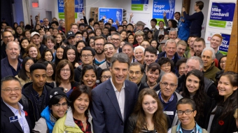 Photo of Mayor Gregor Robertson on Super Saturday