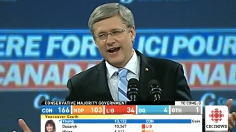 Harper wins 2011 election - strong, stable, national Conservative majority