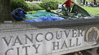 Homelessness protestors camp out at city hall. CP file photo