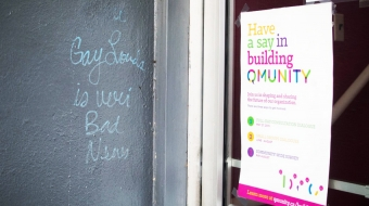 Homophobic graffiti outside the Qmunity offices. Dara Parker photo