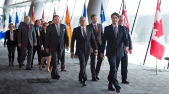 Prime Minister Trudeau and Premiers at Vancouver Climate Talks