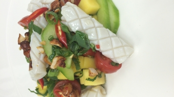 Vietnamese inspired calamari salad with mint and mango