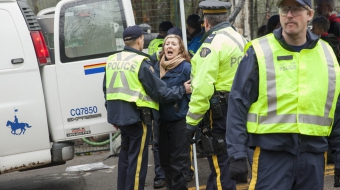 Kinder Morgan protester Karen Mahon arrested Burnaby Mountain by RCMP - Prystupa