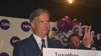 NPA's Kirk LaPointe gives concession speech. Photo by Jenny Uechi