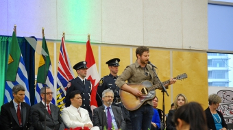 Dan Mangan playing at the inauguration ceremony in Vancouver