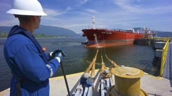Oil tanker at Kinder Morgan Westbridge terminal in Burnaby