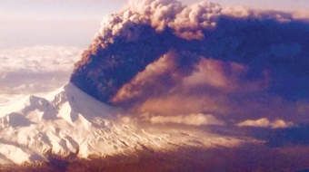 Pavlof Volcano erupting in Alaska on March 26, 2016.