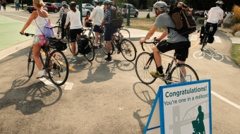 Biking, bicycles, cycling, Burrard Bridge, Vancouver, public transit, 1 million