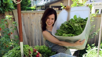 Urban gardener Rebecca Cuttler and her bumper crop of vegetables