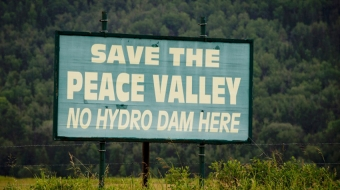 Protest sign in Peace River valley area. Canadian Press photo