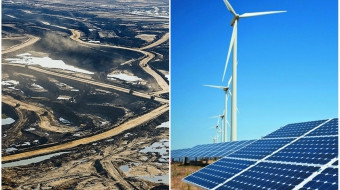 Left: oil sands photo by Andrew S. Wright. Right: image from Wikimedia Commons