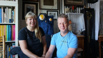 Trish and Martin Kostian in their crowded Vancouver studio.