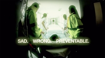 Video still from Stop the Killing campaign, produced by United Steelworkers