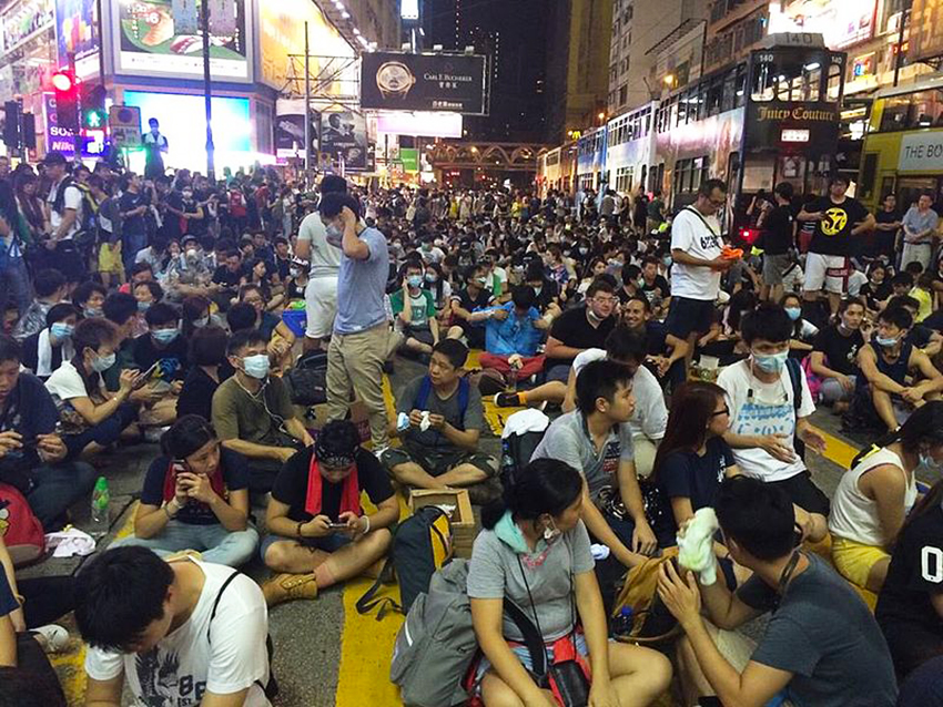 Hong Kong Occupy Central Protesters in Causeway Bay on Sunday - WikiCommons