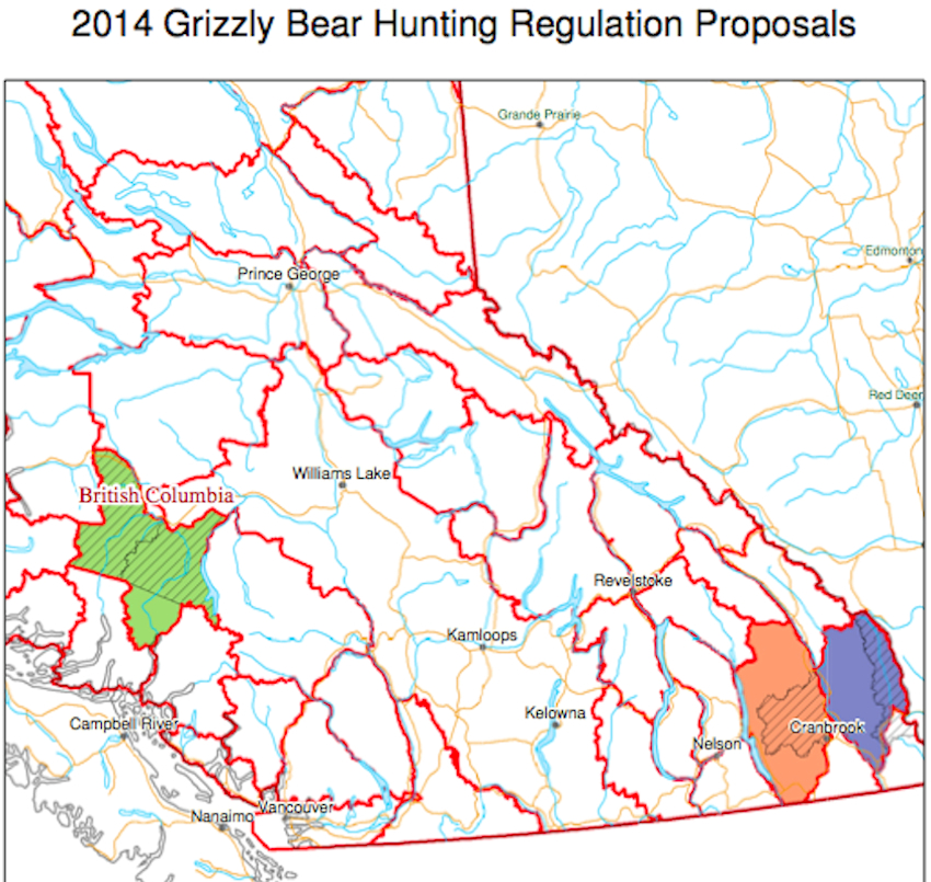 grizzly hunting open 2014 map regions caribou kootenay