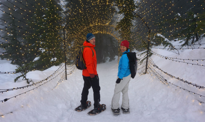 Snowshoeing, Grouse Mountain, Light Walk, hiking trails,  EVO Car Share