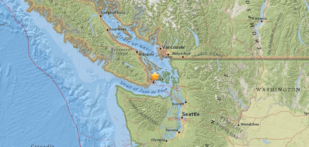 Magnitude 4.9 earthquake hits near Victoria, felt across Metro Vancouver