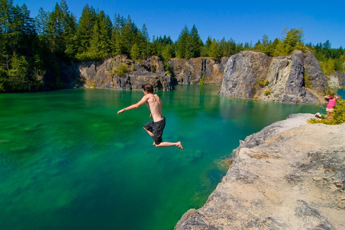 Cooling off in the Heischolt Lakes. Image courtesy Powell River Tourism.