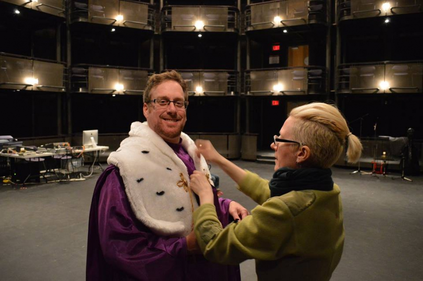 Costume fitting for Eight Songs. Photo courtesy Dorothy Chang