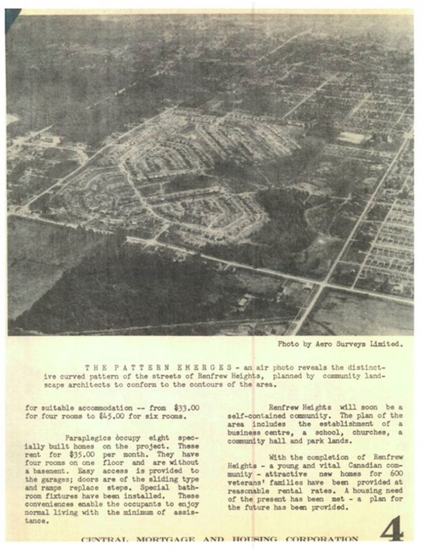 Aerial photo of Falaise Park and the Renfrew Heights Veterans Housing Project