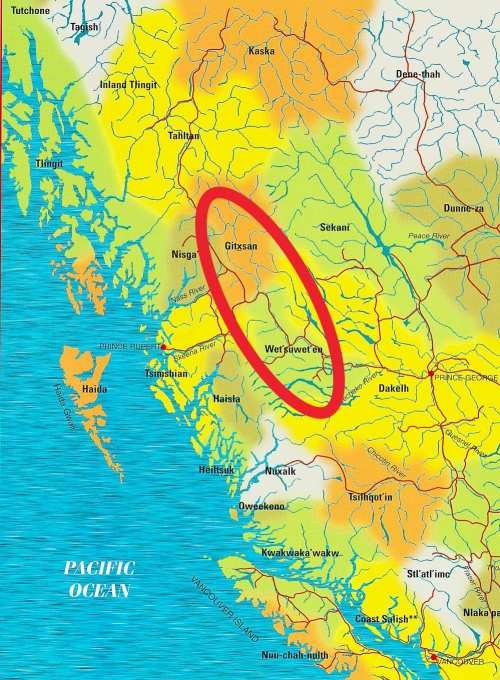 Gitxsan and Wet'suwet'en on BC tribes map