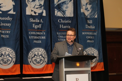 Charlie Demers emcees BC Book Prize Gala
