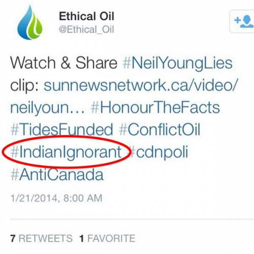 Ethical Oil's #IgnorantIndian twitter post