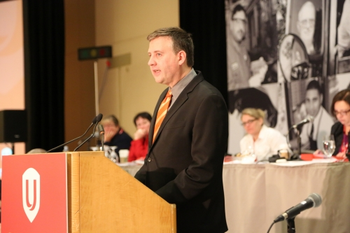 NDP MP Kennedy Stewart at Unifor meeting in Vancouver Feb 2014