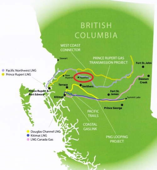LNG proposals map - Hazelton shown in red - Vancouver Observer