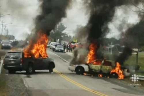 New Brunswick shale gas protest turns violent cars on fire