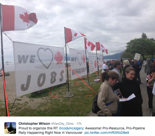 we love jobs we love opportunity - Vancouver rally