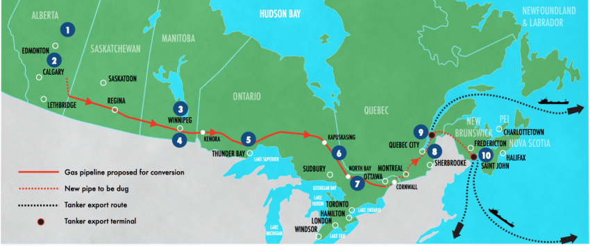 Trans Canada route map - Environmental Defence