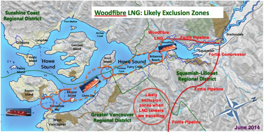 Woodfibre LNG possible exclusion zones map - Future of Howe Sound