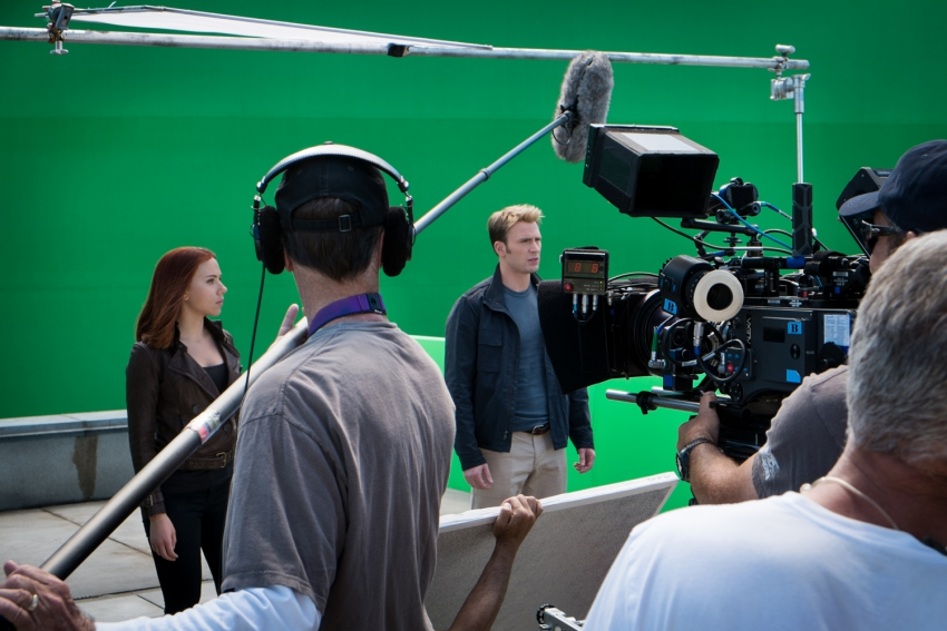 On the 'Captain America: The Winter Soldier' set.  No effects, just green screen
